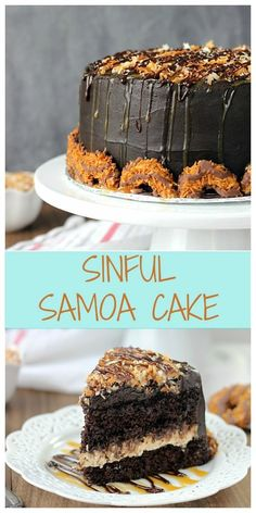 This chocolate cake is filled with a decadent coconut caramel cream cheese and frosted with a fudgy dark chocolate buttercream. It is piled high with toasted coconut and drizzled with caramel and chocolate. It's decorated with Samoa cookies. Cupcake Recipes, Cupcake Cakes, Dessert Recipes, Cupcakes, Just Desserts, Delicious Desserts, Yummy Food, Samoa Cake, Yummy Treats
