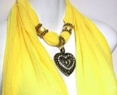 Scarf With Charms Pendant Sunshine Yellow by RavensNestScarfJewel, $24.00