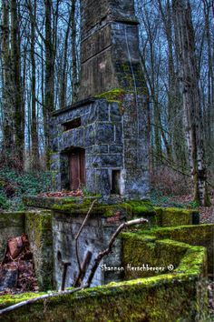 Abandoned Fireplace in Woods. $20.00, via Etsy.