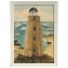 Lighthouse Cape Henry artwork ~   Lighthouse prints always seem to have a calming effect on the space of a room…rely on the Cape Henry and Assateague Lighthouses from Virginia to light up your space!    Framed 21 3/8 x 28 3/8 $340 FREE SHIPPING