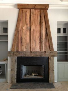 Fantastic Tips: Fireplace Shelves One Side farmhouse fireplace southern living.Tv Beside Fireplace Built Ins garden fireplace diy.Black Fireplace With Stove. Reclaimed Wood Fireplace, Wood Fireplace Surrounds, Concrete Fireplace, Rustic Fireplaces, Farmhouse Fireplace, Rustic Farmhouse, Porch Fireplace, Indoor Fireplaces, Propane Fireplace