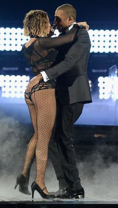 Beyoncé and Jay-Z at the 2014 Grammys