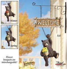 COLLECTIONS ETC.          Seasonal Welcome Bear Hanging Garden Sign
