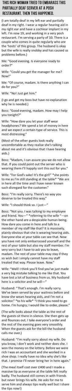 #Rich #Woman Tries To #Embarrass This Partially Deaf Server. Then This Happened