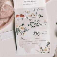 Tri Fold Wedding Invitations, Wedding Rsvp, Wedding Stationery, Wedding Cards, Map Invitation, Invitation Ideas, Christmas Photo, Bunt, Custom Map