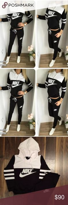Nike sweat suit hoodie & joggers Nike, 2 piece set, black and white, size small, hoodie & joggers. NWOT new condition m. Only wore outfit 1 time, cotton material. Nike Pants Track Pants & Joggers