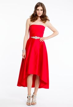STRAPLESS HIGH-LOW DRESS WITH STONE DETAIL #dresses #red  #highlow #camillelavie #homecoming #homecomingdress