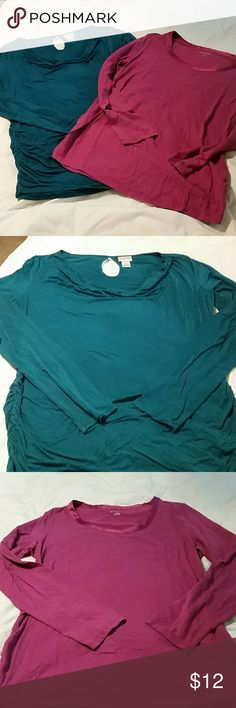 Lot of 2 Maternity  tee's Long sleeved, teal one has drape neck and the magenta one has scoop neck with satin trim. Gently used,  super soft. Motherhood Maternity Tops Tees - Long Sleeve