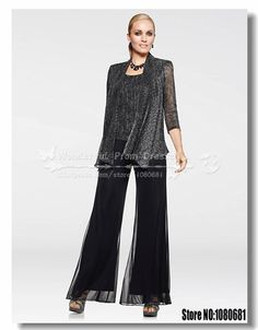 2014 new style fashion Glitter Crepe and Chiffon three piece mother of the bride pant suits US $159.00