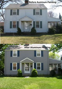painting aluminum siding - best article found so far. Pin now, read on wood lap siding, best paint for aluminum siding, paint colors for aluminum siding, hail damage on siding, exterior paint schemes dark gutters, exterior paint for cedar siding, painting siding, fungus on house siding, metal siding, exterior vinyl siding colors, exterior siding ideas, acrylic paint for aluminum siding, exterior paint vinyl siding, painted tin siding,