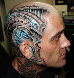 tattoo, head, light source, head tattoo, man, 3D Biomechanical Tattoos, man tattoo , cyber punk, impressive, mech, biomech, biomechanical by FuturisticNews.com