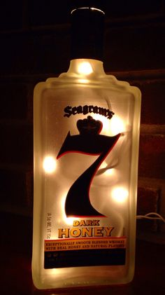 Check out more items at https://www.etsy.com/listing/228461764/seagrams-7-dark-honey-whisky-lighted #seagrams #7 #dark #honey #whisky #lighted #lamp #bottle Visit lightitupcreations.com