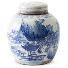 blue white ginger jar double happiness jar asian decor