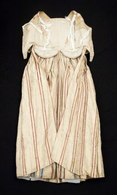 Dress; Open robe - Silk. Edge to edge opening, square neck, lappets below waist. Underarm seam. Back en fourreau with pleats facing centre back. Sleeves - 3 darts at head. Strips run round sleeve. Open robe      National Trust Inventory Number 1348729  Category Costume  Date 1770  Materials Glazed cotton, Linen, Silk, Wool  Measurements   Place of origin   Collection Snowshill Wade Costume Collection, Gloucestershire (Accredited Museum)