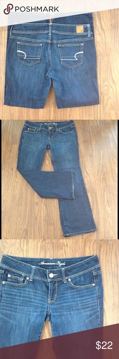 """America eagle JEANS SLIM BOOT STRETCH denim size 8 American eagle denim jeans. Size 8. Inseam is about 29"""".Style slim boot. Dark wash. Stretch. (Note small pic at bottom of leg. See photo.). Detailed with stitching on back pockets. Zipper fly. Please look at all pictures before you purchase. Have any questions just ask. Thanks! American Eagle Outfitters Jeans"""