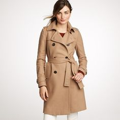 J. Crew Italian Wool/Cashmere Trench Coat in Camel $325