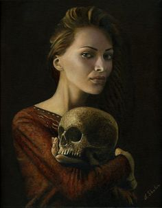 Alexander Shubin, Death grim reaper Father Time scythe maid girl woman dance danse macabre skull skeleton