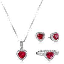 Sterling Silver Created Ruby and White Topaz Halo Heart Earrings, Ring, and Pendant Necklace Jewelry Set