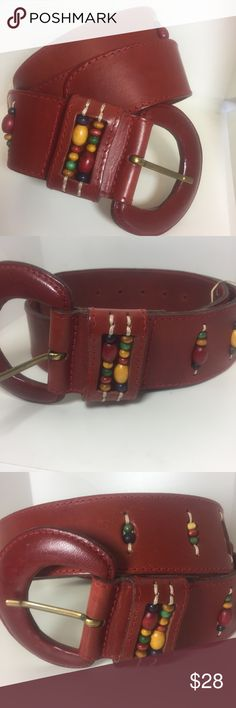 """Vintage Red Beaded Leather Belt Ginnie Johansen Vintage 1980s Red Beaded Leather Belt Ginnie Johansen • Red leather • Wood beads • Sz M • 30"""" to 33"""" with belt buckled • 39"""" total length  • Thick belt of great quality • Good condition, although the. Let has a few mild scratches • Belt has a  slightly curved shape • 3.25"""" wide buckle Ginnie Johansen Accessories Belts"""