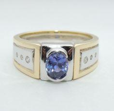 Striking 14K Violet Purple Blue Sapphire Ring, Diamonds, 14kt Yellow & White Gold, sz 11&3/4, Exclusively on Ruby Lane