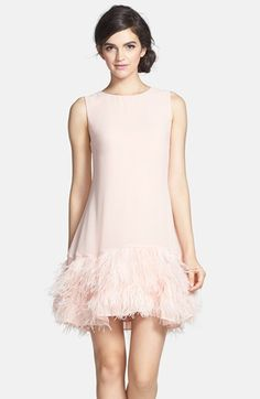 Erin Fetherston @Nordstrom |  Phoebe Ostrich Feather Hem Chiffon Shift Dress | #partydress #bridesmaid #feathers
