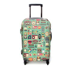 Fashion Travel Dachshunds Playing With Insects Green Luggage Suitcase Protector Washable Baggage Covers