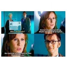 "This is what I love about the Doctor being with Donna. Donna thinks she's worthless and the Doctor keeps telling her that she is brilliant and amazing. Once she finally said that she was important, and the Doctor was like ""finally"" Geeks, Look At You, Just For You, Serie Doctor, 10th Doctor, Girl Doctor, Donna Noble, Don't Blink, Torchwood"