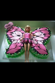 Barbie butterfly cake- this is her favorite! Butterfly Cakes, Butterfly Birthday, Birthday Cake Girls, Birthday Cakes, Birthday Ideas, Barbie Party, Cute Cupcakes, Cake Gallery, Girl Cakes