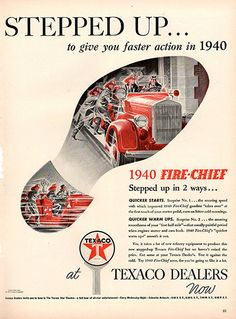 """1940 Texaco Fire Chief Gasoline Original Fuel and Energy Print Ad -An original vintage 1940 advertisement, not a reproduction -Measures approximately 10"""" x 13"""" to 11"""" x 14"""" -Ready for matting and fram"""