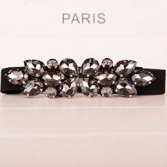 2014 nova moda chegada elegante strass decoração faixas pretas feminino All jogo Cummerbund fina cinto elástico para as mulheres