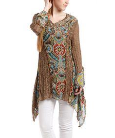 Look at this #zulilyfind! Ecru Paisley Lace V-Neck Linen-Blend Top #zulilyfinds