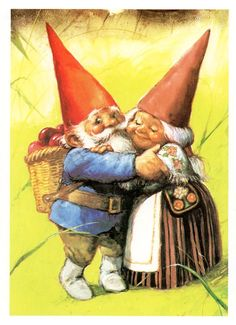 "Rien Poortvliet (1932-1995) — Gnome Elf David and Lisa ""The Secret Book of Gnomes"" by Wil Huygen  (653x900)"