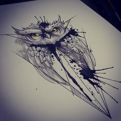 #illustration #tattoo #ink #watercolor #watercolortattoo #aquarela #owl #coruja