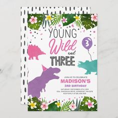 """Dinosaur Birthday Invite Wild And Three Dino Party Size: 5"""" x 7"""". Gender: unisex. Age Group: adult. Material: Matte. Girl Dinosaur Birthday, Twin Birthday, 4th Birthday, Birthday Ideas, Birthday Gifts, Dinosaur Party Supplies, Dinosaur Birthday Invitations, Custom Invitations, Holiday Cards"""