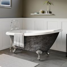 """Scorched Platinum X Acrylic Slipper Bathtub With"""" Deck Mount Faucet Holes & Polished Chrome Ball & Claw Feet - Cambridge Painted """"Scorched Platinum"""" Acrylic Clawfoot Bathtub. Each Tub is a Clawfoot Tub Bathroom, Bathroom Faucets, Claw Bathtub, Soaking Bathtubs, Wood Bridge, Polished Chrome, Brushed Nickel, Contemporary Design, Slipper"""