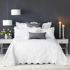 Bianca Shayla Bedspread Set is intricately embroidered with a classical motif pattern. The bedspread and pillow shams are trimmed with a scalloped edge. White Bedspreads, White Bedding, Comforters, Quilted Bedspreads, King Single Bed, Bed Sheets Online, Pottery Barn Teen Bedding, Double Bed Size, Linen Bedroom