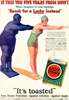 """Can you believe this vintage advertisement for cigarettes? Smoke and keep the pounds off! And read the bottom line.""""Your Throat Protection - against irritation - against cough."""" Cigarette companies need to be shot! Pub Vintage, Photo Vintage, Weird Vintage, Vintage Labels, Vintage Paper, Vintage Style, Anti Tabaco, Vintage Cigarette Ads, Cigarette Brands"""