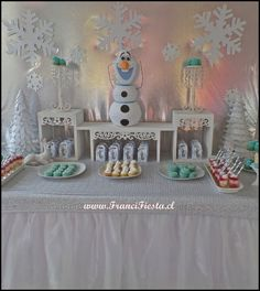 Dessert tables at a Frozen Birthday Party!  See more party ideas at CatchMyParty.com!