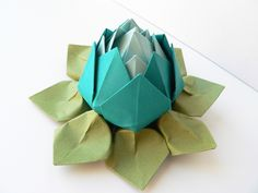 Origami Lotus Flower Decoration or Favor // Peacock, Robins Egg Blue, and Moss Green. $6.95, via Etsy.