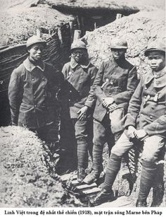 Colonial Annamite soldiers (from former French Indochina, now Vietnam) in their trench on the Marne, 1918.
