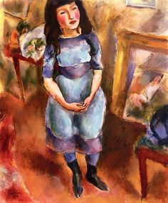 Standing Girl in Blue Dress Jules Pascin - 1914