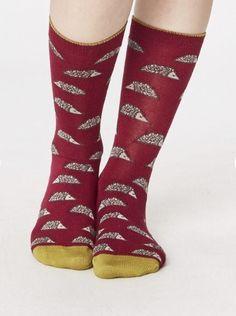 Mooie bamboe sokken in kleur cyclamen met egeltjes print