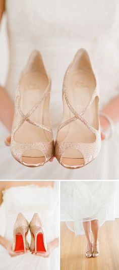 gold-louboutin. want. Ballerina style. Open toe. Not only am I going to have fabulous shoes for my wedding but im taking pics like this