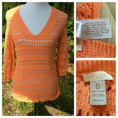 CHICOS Light Weight Crochet Sweater Thia gorgeous Peach sweater can be worn on a cool summer evening. Back from seam to hem measures 25 inches. Back measures 17 1/2 inches from under arm seam to under arm seam for a total of 35 inches.  3/4 sleeve length measuring 18 inches from shoulder seam to bottom of arm hem. Bottom of top has 3 1/2 inch slits on each side.  Top also has a v neck that measures approx 9 inches from shoulder seem to end of V. *Chicos 0 is an XS or size 4 to 6. Please…