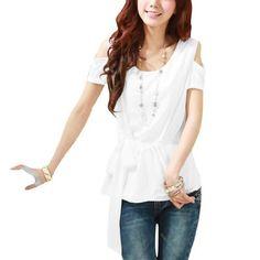 Allegra K Lady Cut Out Shoulder Semi Sheer Chiffon Splice Short Sleeve Casual Shirt White XS Allegra K. $11.02