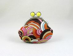 Coin purse, frame purse, handmade change pouch, made in France, kiss lock purse, multicolor pouch by JRsbags on Etsy