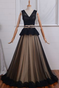 Cheap prom dresses Black tulle and Applique wedding gowns hot,cute v neck dress for wedding party in stock,latest simple bridal dresses affordable V-neck/ Black Tulle Prom Dresses, Formal Gown