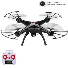 Syma Xmas Gift X5HC 2.4 GHZ 6 Axis Gyro Barometer Altitude Hold RC Headless Mode Quadcopter Drone UFO with 2.0MP HD Camera and Floureon Propeller -- Click on the image for additional details.