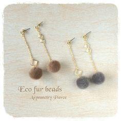 ファーボール◆アシンメトリーピアス Pink Earrings, Cute Earrings, Beautiful Earrings, Beaded Earrings, Earrings Handmade, Handmade Jewelry, Handmade Accessories, Jewelry Accessories, Jewelry Design