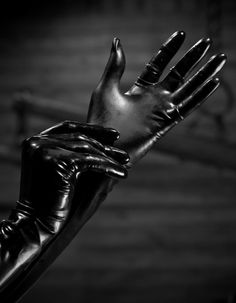 the-solitary-one: I have no special fetish for latex or rubber, but when I see this, watching while she puts on such gloves with long sleeves, the shivers run through my body… this will hurt, in many ways… My Black, Shades Of Black, Back To Black, Black Swan, Black Box, Mode Latex, Rubber Gloves, Hot High Heels, Black Gloves
